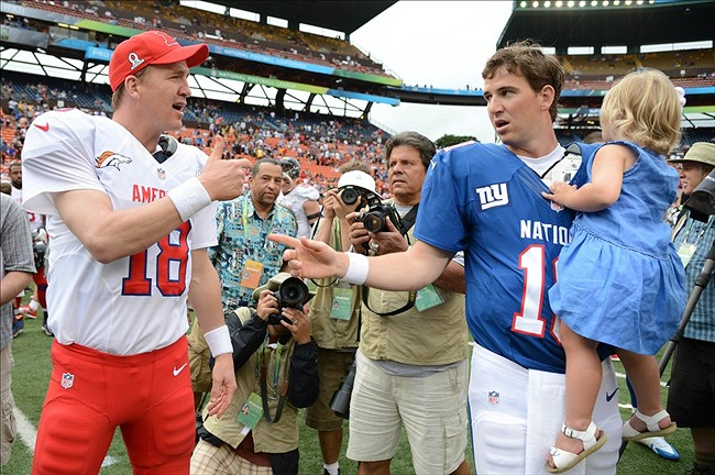 peyton manning kids. Peyton Manning Of The Denver Broncos (18, Left) Shakes Hands With NFC Quarterback Eli New York Giants (10, Right) After 2013 Pro Bowl At Kids