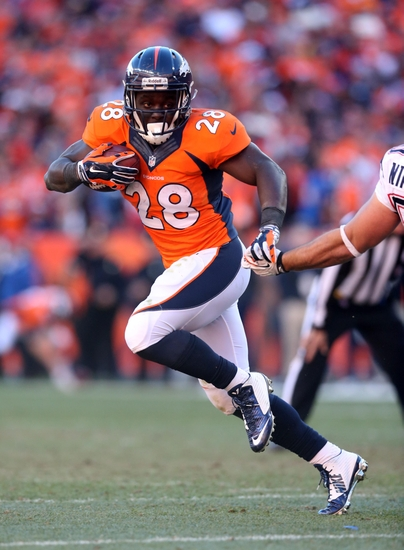 Jan 19 2017 Denver Co Usa Broncos Running Back Montee Ball 28 Rushes The In Second Half Against New England Patriots During
